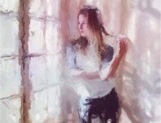 window girl painted